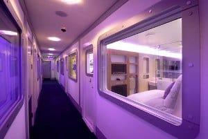 cockpit d'avion Jumbo Jet 747-200 restauré en hôtel